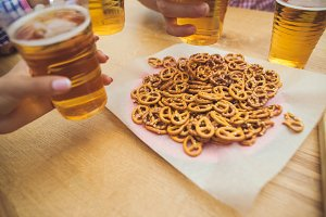 beer and pretzels. Perfect for