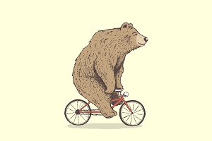 bear is riding a bicycle