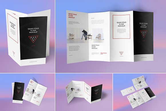 quad fold flyer mockups product mockups creative market