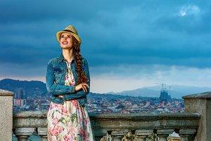 smiling elegant woman in Barcelona,