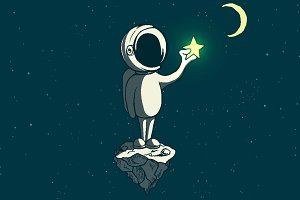 Astronaut boy keeps a shining star