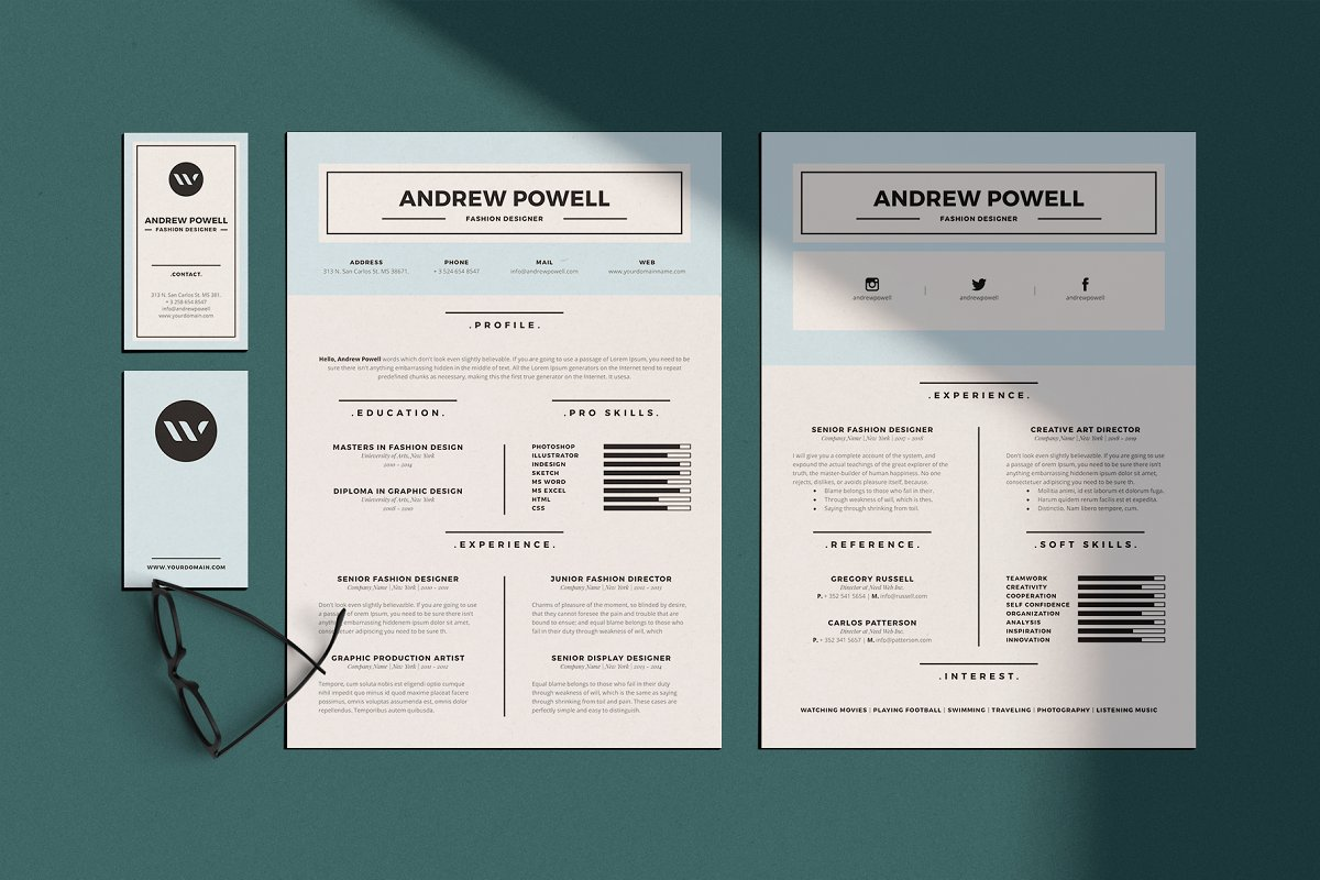 Clean Resume With Business Card Templates Creative Market