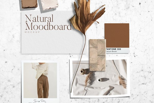 Graphics: New Tropical Design - Natural Mood board Mockup PSD