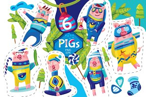 Vector Pigs set. Christmas Cards.
