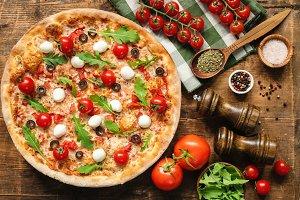 Tasty Italian Pizza, Top View