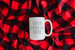 15 oz Buffalo Christmas Mug Mockup