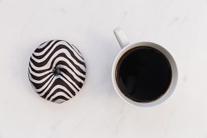 Striped donut and coffee cup