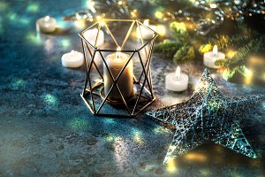 Christmas background candles stars l