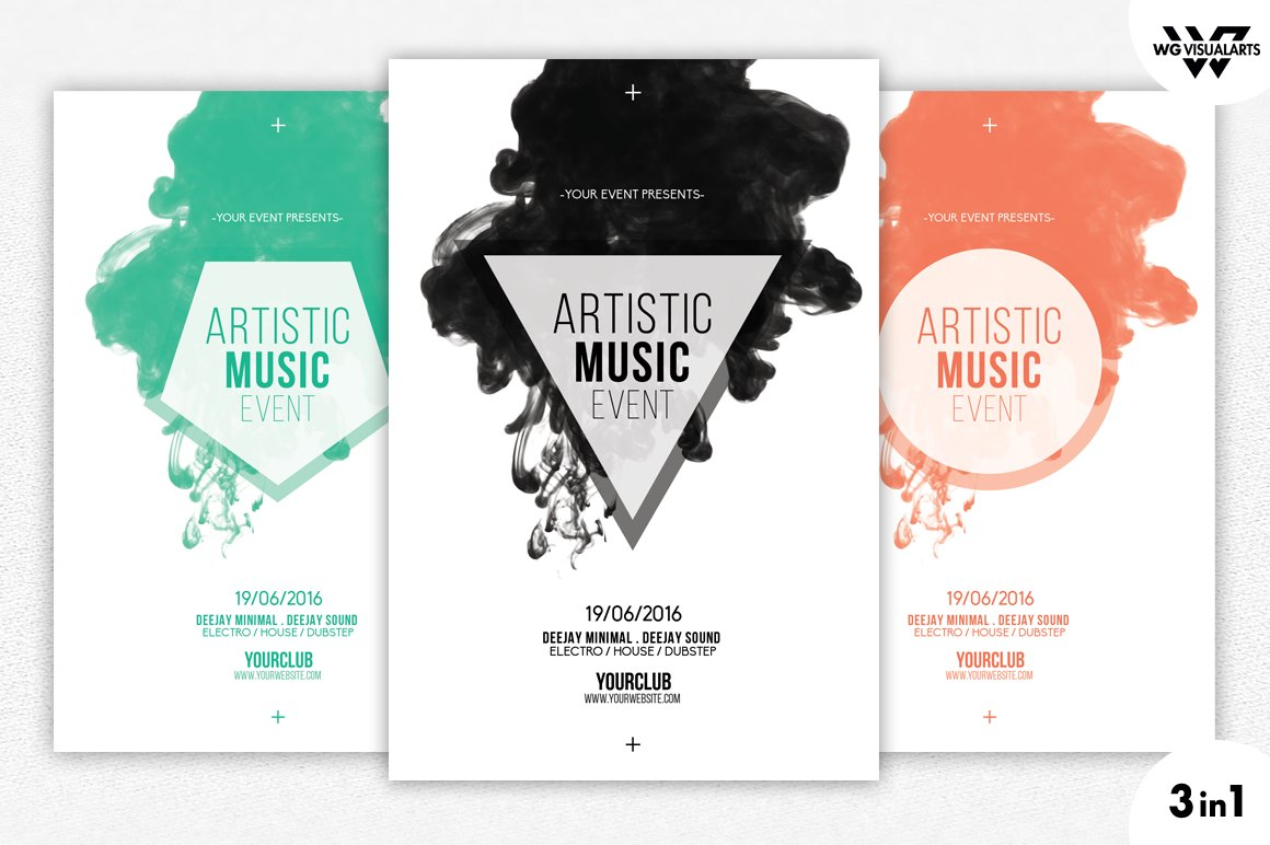 3in1 MINIMAL ABSTRACT Flyer Template ~ Flyer Templates ~ Creative Market