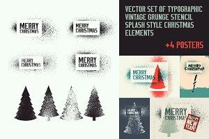 Vector set of stencil Xmas elements.