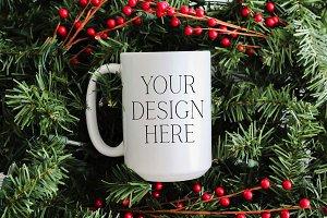 15 oz Pine Christmas Mug Mockup