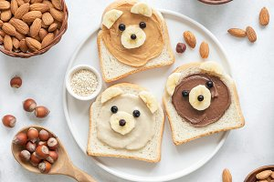 Teddy Bear nut butter toasts!