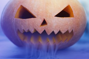 Scary Halloween Pumpkin looking thro