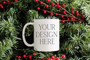 11 oz Pine Christmas Mug Mockup
