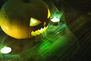 Magic pumpkin lantern on Halloween