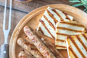 Grilled sausages and cheese