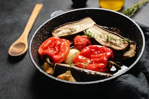 Roasted vegetables on a grill pan