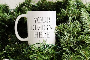 11 oz Pine Tree Christmas Mug Mockup