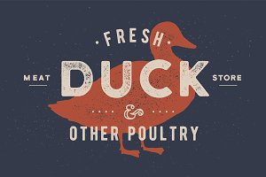 Duck meat. Poster for Butchery meat
