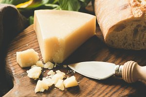 Parmesan cheese and cheese knife