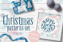 Snow Christmas patterns set