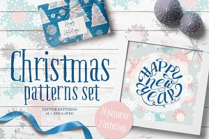 Snow Christmas patterns set