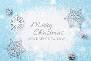 Light blue Christmas & New Year card