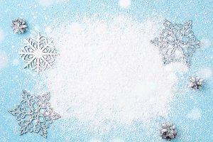 Light blue Christmas snowflake frame