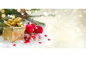 fir tree with  decorations and gif