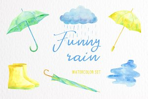 Funny rain. Watercolor set.