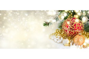 christmas red and golden heart with
