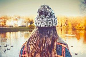 autumn landscape, girl