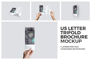 U.S. Letter Trifold Brochure Mock-Up