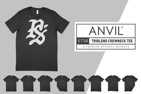 Product Mockups: Pixel Sauce - Anvil 6750 Triblend T-Shirt Mockups