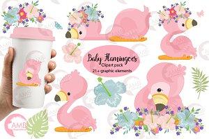 Flamingo clipart, AMB-2470