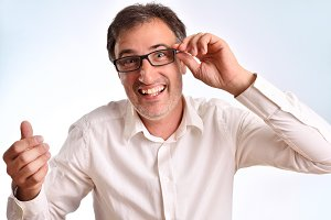 Middle-aged man laughing surprise