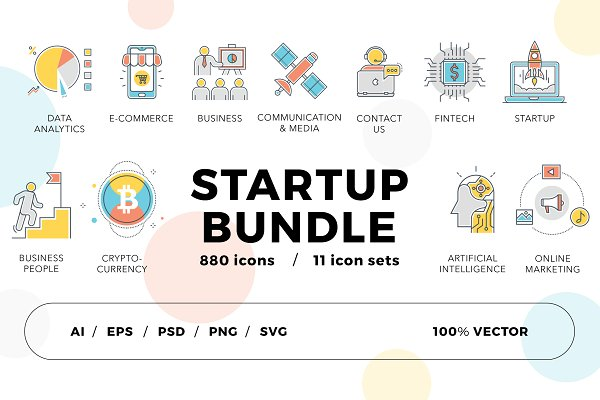 Graphics: Flat Icons - 800+ Startup Icons Bundle