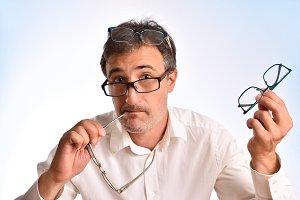 Funny portrait wirth glasses concept