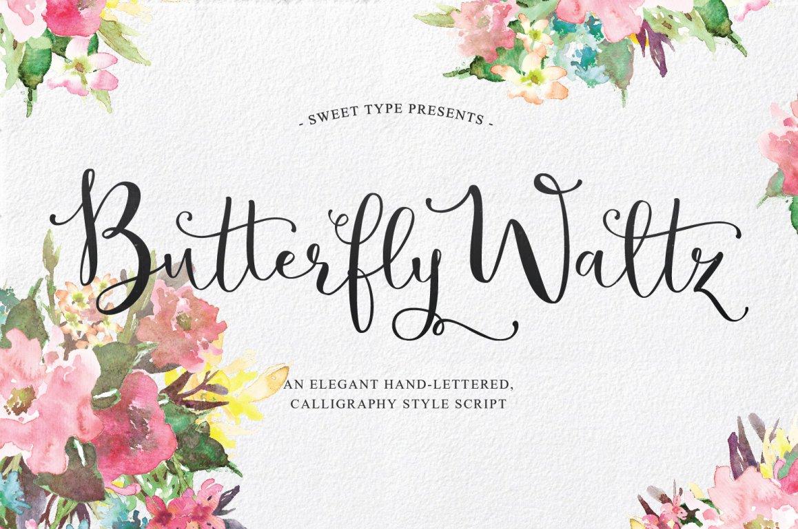 Butterfly waltz script script fonts creative market kristyandbryce Choice Image