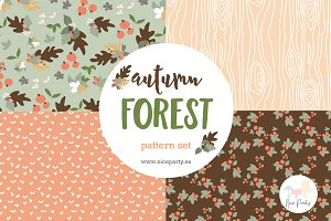 Autumn forest pattern set