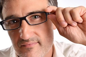 Attractive man eyeglasses closeup