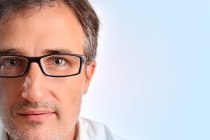 Attractive man eyeglasses blue
