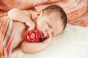 The Cute Sleeping Newborn Baby Girl