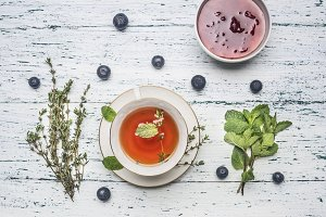 healthful autumn hot herbal tea
