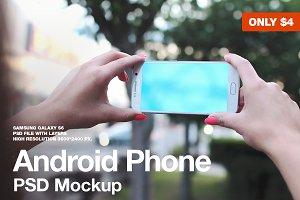 Galaxy S6 Landscape PSD Mockup