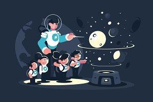 Guide with children in planetarium