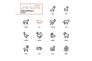Farm animals - line design icons set