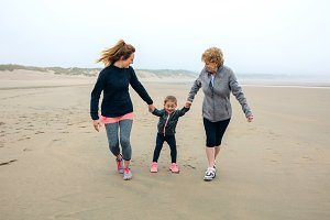 Three generations female running on