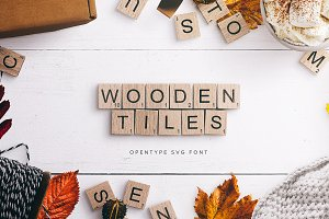 Wooden Tiles a Scrabble-Like Font