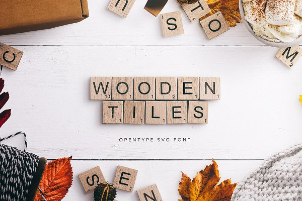 Display Fonts: Custom Scene - Wooden Tiles Font